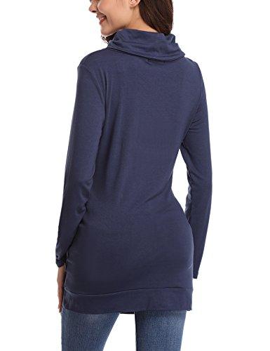iClosam Damen Tunika Tops Baumwolle Langarm Shirt Tops mit Wasserfallausschnitt Pullover Dunkelblau