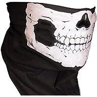 Zhuhaimei,Fiesta de Halloween Máscara de Calavera Motocicleta Negra Sombrero Multifuncional Sombrero Bufanda Cuello(Color:Blanco + Blanco)