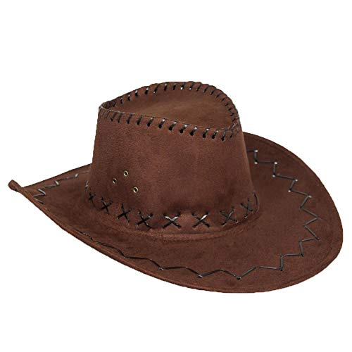 AcserGery Cowboyhut Westernhut Kostümzubehör Western Wildlederoptik Cowboy-Hut (opfbedeckung zu Karneval, Fasching, Halloween, Mottopartys) (Braun) Cowboy-hut Halloween