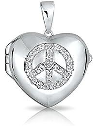 Bling Jewelry Pendiente Medallón Forma Corazón con Signo de la Paz en Circonita