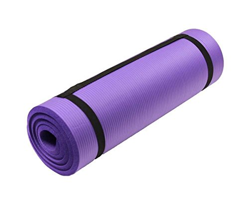 EXERCISE MAT NBR 15mm Thickness YOGA FITNESS WORKOUT PILATES CAMPING with carry strap (PURPLE ORCHID)