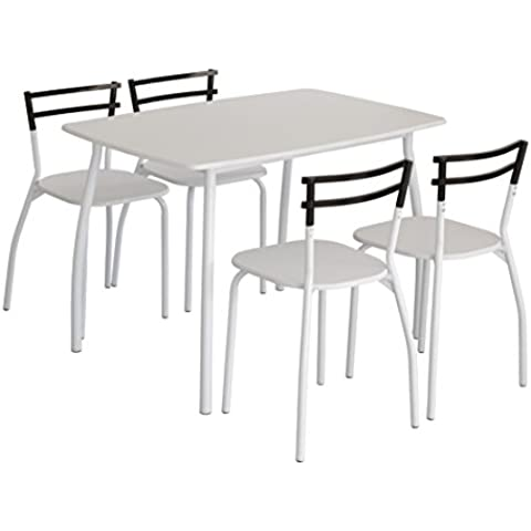 Conjunto de mesa de cocina con tapa color blanco + 4 sillas ROMA