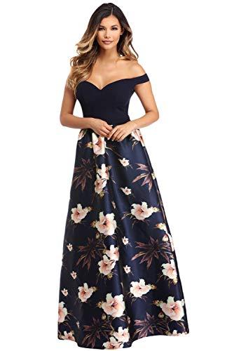 5f9a5cdcd860f8 Sexy Elegante Abito Lungo Cerimonia da Donna Vestito con Stampa Floreale  Festa -Blue-IT38
