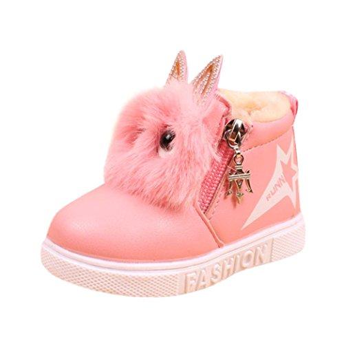 Odejoy Kinder Mode Jungen Mädchen Sneaker Stiefel Kinder Warm Baby Beiläufig Schuhe Kinder Behalten warm Baumwolle Stiefel Schnee Stiefel Schuhe Schön wenig Fuchs Stiefel(21-30) (21, Rosa)