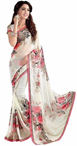 Art Decor Sarees Art Silk Saree With Blouse Piece(White-Georgette_White Free Size)