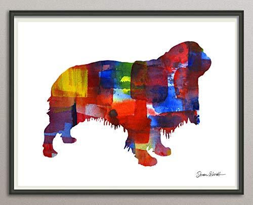 english toy spaniel Rasse Hunde Hunderasse Fine Art Print Aquarell Silhouette Profil Poster Kunstdruck Plakat modern ungerahmt DIN A 4 Deko Wand Bild -