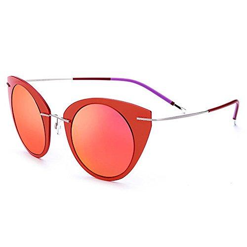 Wxx000 Damen Sonnenbrille, Cat Eye Polarized Lightweight, UV 400 Schutz im Freien (Color : RED)