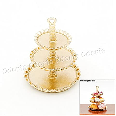 Odoria 1:12 Miniature 3-Tier Golden Cupcake Stand Dessert Centerpiece Dollhouse Kitchen Accessories