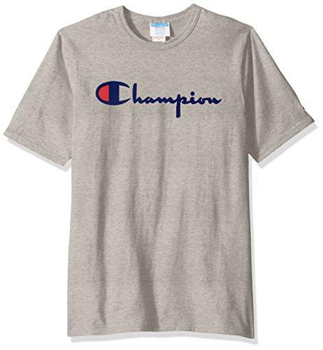 Champion Life Herren Heritage Tee T-Shirt, Oxford Gray W/Flock Script, Mittel - Jersey Tee Oxford