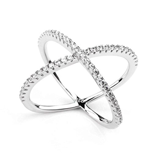 925 Sterling Silver X-Ringe Cubic Zirconia Criss Cross Verlobungsringe Trauringe (47 (15.0))