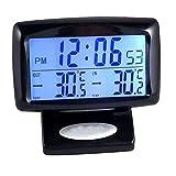 VelvxKl Misuratore di Temperatura di Orologio termometro LCD Digitale LED Veicolo Squisito con retroilluminazione Black