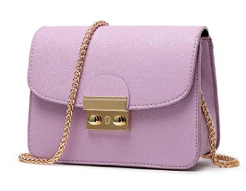Handtaschen Kleine Mit Farben Tasche Körper PU Mini Ketten Handytasche Schultertasche Nachricht Frauen Leder Purple Schultergurt Kreuz 8 wn1p0YX