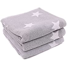 Lasa Stars - Juego de toalla para tocador, 33 x 50 cm, lavabo, 50 x 100 cm y baño, 100 x 150 cm, color gris