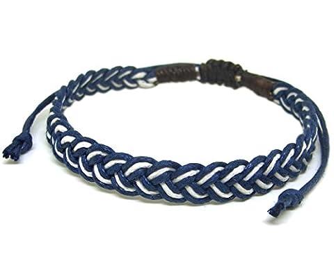 Artisan Asiatique Bracelet Fait Main 100% Ficelle de Coton Couleur Blanc Bleu