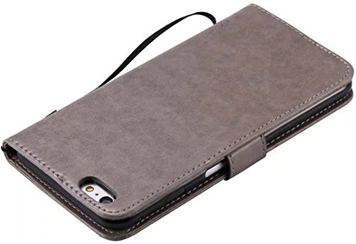 Apple iPhone 6Plus/6S Plus Custodia in pelle Flip Wallet Cover Case, Nnopbeclik Folio PU Leather Lusso Colorato Fiore Custodia Case Cellulare imprinting Albero del Gatto del fiore della farfalla cris Grau