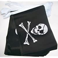 9m 32 Flag Skull & Crossbones Pirate Jolly Roger Material Bunting