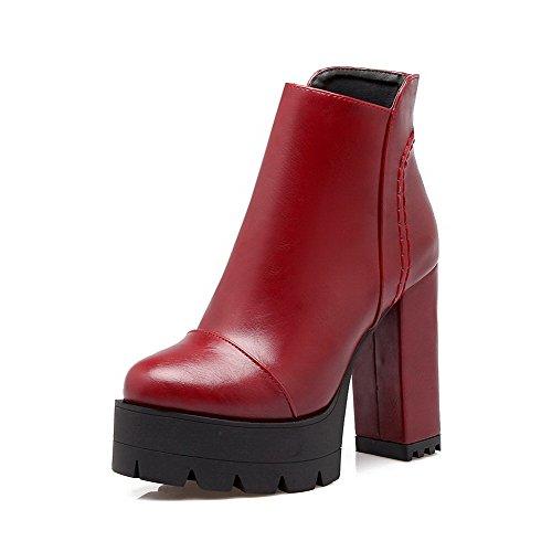 VogueZone009 Damen Hoher Absatz Rein Rund Zehe Reißverschluss Stiefel Rot