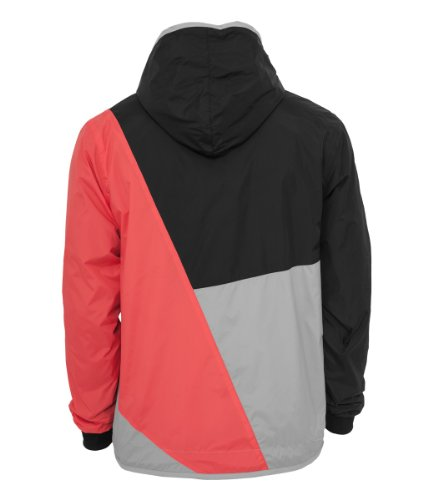 Urban Classics TB247 Zig Zag Wind Runner Giacca a Vento Uomo Regular Fit Grey Infrared Black