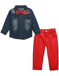 2PCS Bebé guapo manga larga Abrigo Chaqueta camiseta +Rojo vaqueros Jeans pantalones ropa Conjunto,Yannerr niña niño primavera Verano tejana bordada Denim top Jersey mono traje