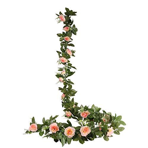 O-heart 2 Stück (4,7 Fuß) Künstliche Rosenranken Kunstblumen Rosen Girlanden Hängende Rose für Hochzeit, Zuhause, Büro, Party, Garten, Tisch, Basteln, Arrangement Decor (Champagner)