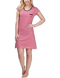 Damen Nachthemd Kurzarm mit Allover-Streifen - Moonline