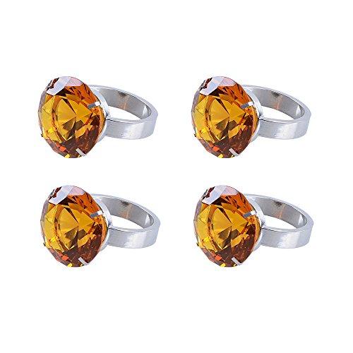 Longwin Verre de Cristal ronds de serviette Lot de 4 décorations Ornements, Alliage, ambre, 50mm Diameter