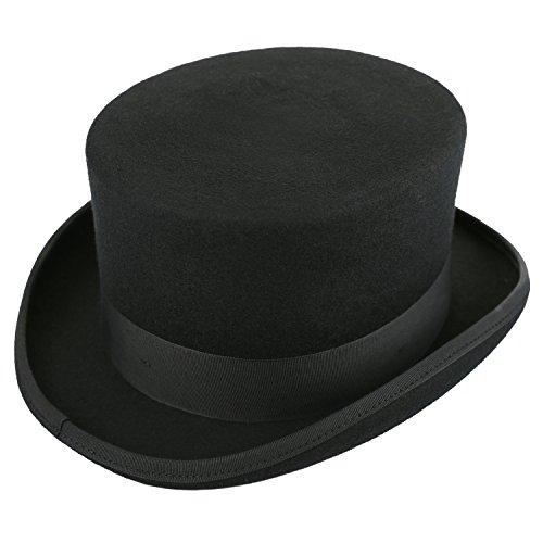 Deevoov Herren 100% Wollfilz Fedora Zylinderhut Satin gefüttert Derby Hüte Fantastic Costume Party Wasserabweisend Topper Schwarz -