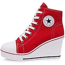 dc58ecc681a3f8 Qimaoo Damen Keilabsatz Schuhe Mädchen Canvas Sneaker Schuhe für Sport  Freizeit Schwarz Pink Rot Weiß