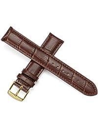 Pelle cinturino in pelle di ricambio da uomo cinturino e donne in oro rosa con fibbia nero e cinturino marrone, Marrone Oro 18mm