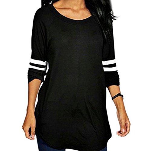 FORH Tradition und Mode Damen hemd Einfachheit Farbe muster Lange Ärmel Sweatshirts Bluse Gemütlich loose (S, Schwarz) (Einfachheit Kragen Eine)