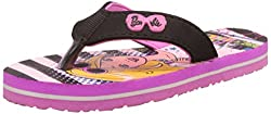 Barbie Girls Pink and Black Flip-Flops and House Slippers - 5 kids UK/India (22 EU)