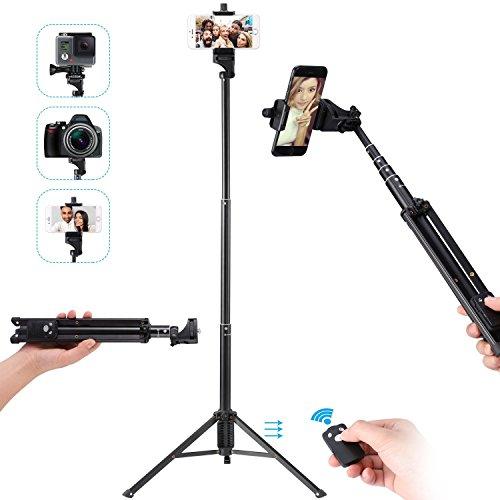 Tobeape 137 cm Selfie Stick Stativ, Ausziehbares 3 in 1 Selfie Stick, Selbstbildnis Monopod, Video Stativ für Smartphone und Kamera mit Wireless Fernbedienung Shutter (Remote-head)