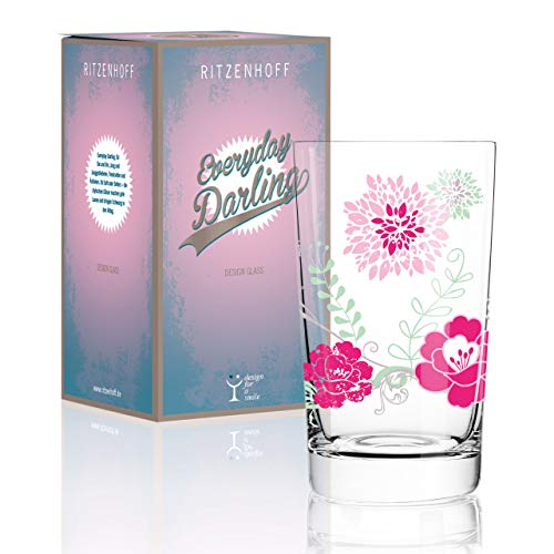 RITZENHOFF Everyday Darling Softdrinkglas von Carolin Körner, aus Kristallglas, 300 ml, mit trendigen Dekoren