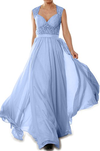 MACloth Women Chiffon Lace Illusion Long Prom Formal Dress Evening Party Gown Himmelblau