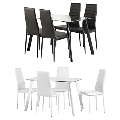 Seconique Abbey Dining Set In Clear Black Glass, Clear White Glass
