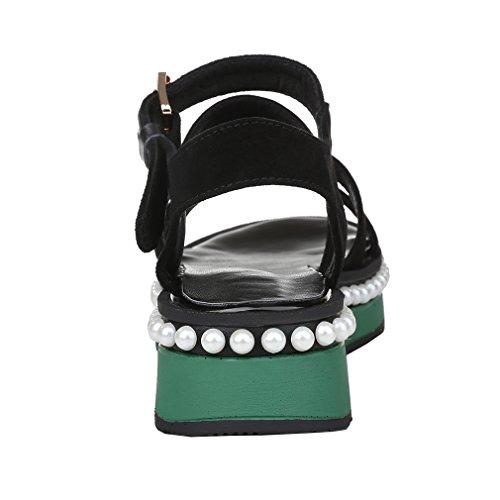 ENMAYER Bracelet à boucle pour femme ouvert Toe Robe à manches longues pour femme Chaussures plates Sandales Noir