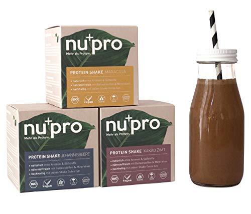 nupro Veganes Bio Proteinpulver -Mixed Box- Ganzheitlicher Eiweiß Shake aus Pflanzlichen Proteinen zur Versorgung von Muskulatur & Darmflora [Ohne Soja, Aromen oder Süßstoff|3x200g] - Vegane Soja-protein
