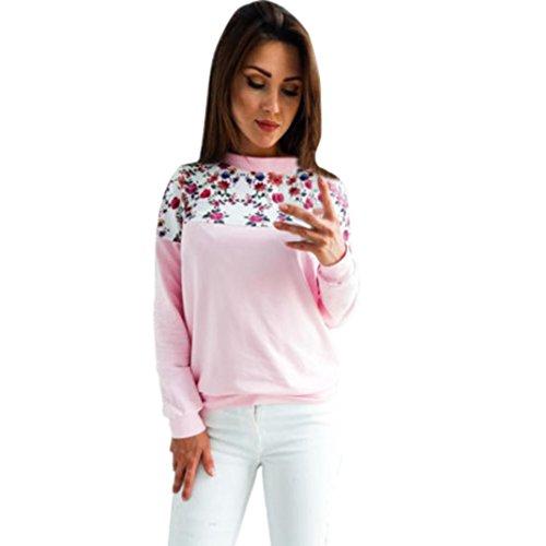 Amlaiworld Niedlich bunt Flickwerk locker Langarmshirts damen mit aufdruck blumen komfortabel Warm Sweatshirt weich sport Winter Herbst rosa pullover (S, Rosa)