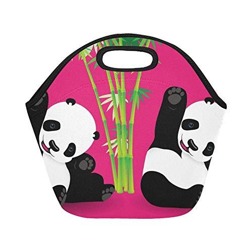 nch-Tasche Kleiner Panda-Bär Sitzende Wellen Große wiederverwendbare thermische dicke Lunch-Tragetaschen Für Brotdosen Für draußen, Arbeit, Büro, Schule ()
