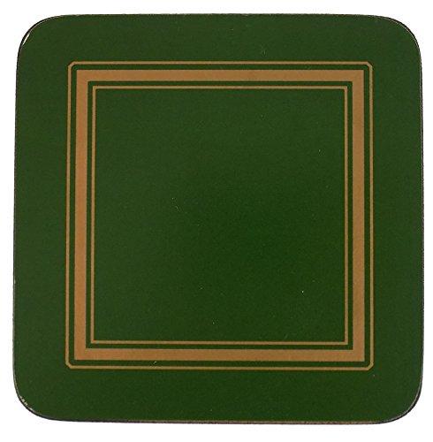 Set 6 Grün Gold Eingefasst Klassisch Korken Untersetzer 10.5 X 10.5 X 0.6CM Gold Coaster