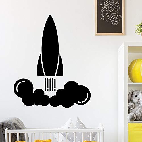 jiuyaomai Raketenmuster Wandaufkleber Für Kinderzimmer Kindergarten Wandtattoo Raketenstart Mode Kunst Wandbild Jungen Schlafzimmer 57x69 cm