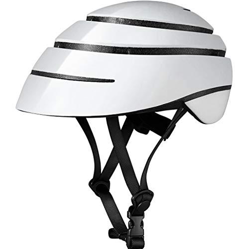 ZJJ Helm- Städtischer Freizeit-tragbarer Klapphelm, Fahrradsicherheitshut (Farbe : Weiß, größe : L)
