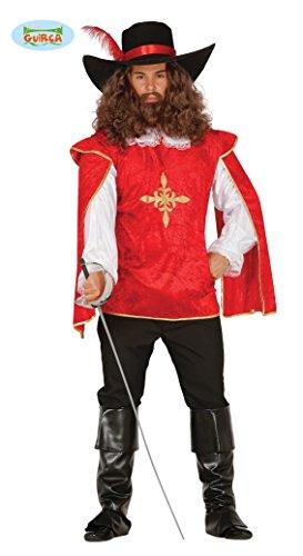 (Musketier - Kostüm für Herren Karneval Fasching Frankreich Soldat Kämpfer Gr. M - L, Größe:L)