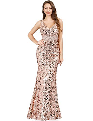 Ever-Pretty Vestido Noche Lentejuelas Sirena Cuello