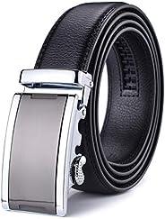 Autolock Men's Leather Ratchet Dress Belts with Automatic Bu