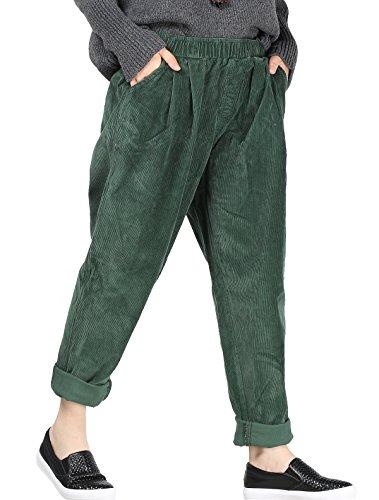 Vogstyle Damen Herbst/Winter Beiläufige Baumwoll mit Taschen Schwärzlichgrün