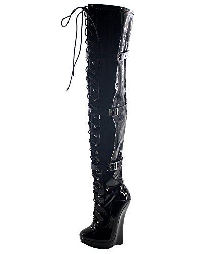 WONDERHEEL Damen Wedges Over-Knee Plateau Stiefel Schwarz 40 EU