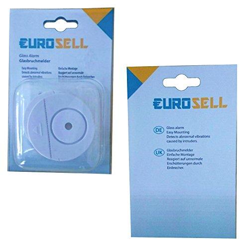 Eurosell Fenster Glasbruch Alarm Sensor + Sirene – Einbruch Diebstahl Schutz - 2