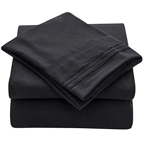 Veeyoo - set biancheria da letto con tessuto antipiega, ipoallergenico, di qualità albergo, extra morbido con bordi profondi, composto da federe e lenzuola, microfibra, nero , singolo