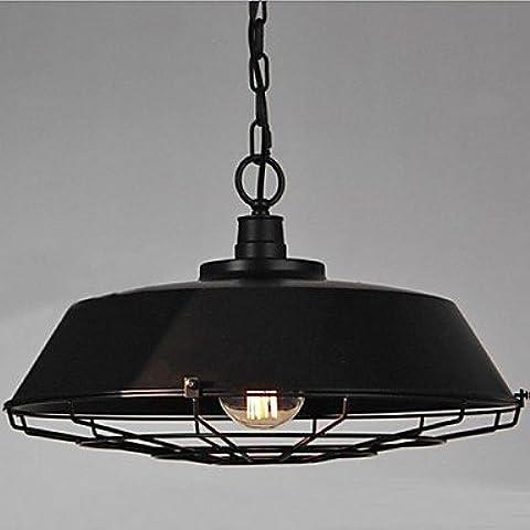 LYNDM  Rétro in stile loft Edison lampadina industriale Vintage Ciondolo lampada di illuminazione per la casa in metallo nero ombra(#DD2219)